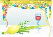 picture of sukkot  - Happy Sukkot with glass of wine vector illustration - JPG