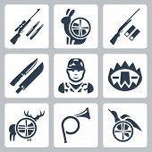stock photo of hunt-shotgun  - Vector hinting icons set - JPG