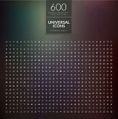 stock photo of universal sign  - Set of 600 universal modern thin line icons - JPG