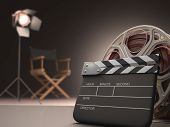 stock photo of stool  - Clapboard concept of cinema - JPG