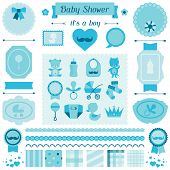 stock photo of pacifier  - Boy baby shower set of elements for design - JPG