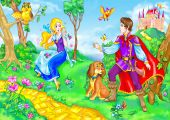 image of fairy-tale  - drawing of fairy tale heroine and prince - JPG