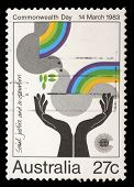 AUSTRALIA - CIRCA 1983: Stamp from Australia shows image celebrating social justice and cooperation,