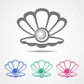 image of scallop shell  - Vector shell icon with a pearl inside in different colors - JPG