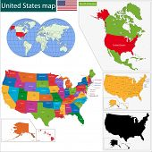 image of nebraska  - Colorful USA map with states and capital cities - JPG