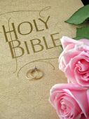 picture of wedding couple  - pink roses and wedding rings on holy bible - JPG