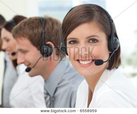 Female Customer Service Agent In A Call Center