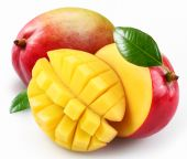 image of mango  - Mango with cut section on a white background - JPG