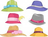 stock photo of fedora  - Illustration Featuring Different Designs of Women - JPG