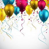 foto of confetti  - Celebration colorful background with balloons and confetti - JPG