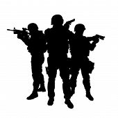 stock photo of anti-terrorism  - Silhouettes of special weapons and tactics SWAT team in action - JPG