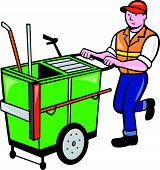 image of sweeper  - Illustration of a street cleaner worker pushing a cleaning trolley viewed from front on isolated background done in cartoon style - JPG