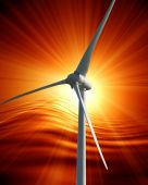image of wind-turbine  - wind turbine with sunset on an orange background - JPG