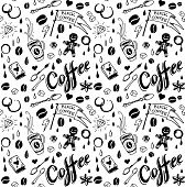 pic of silkscreening  - Coffee seamless pattern in traditional tattoo style - JPG