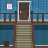 stock photo of upstairs  - The blue room with doors and stairs - JPG
