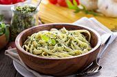 picture of pesto sauce  - Pasta with arugula walnut pesto in a bowl - JPG