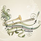 pic of trombone  - hand drawn trombone on a light background - JPG