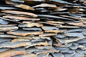 image of shale  - Stack of Shale stone for home decorating interior or exterior building - JPG