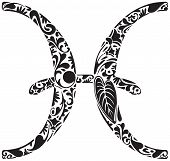 picture of pisces  - Pisces zodiac sign made of black floral elements - JPG