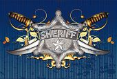 picture of saber  - sheriff star with sabers on the blue background Note - JPG