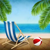 stock photo of beachfront  - Vector illustration of a summer vacation on the beach - JPG