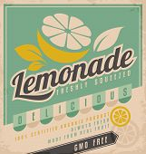foto of cold drink  - Retro poster design for ice cold lemonade - JPG