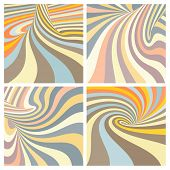 picture of psychodelic  - Set of colorful striped projection on torus - JPG