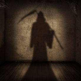image of scythe  - view of the shadow of the death with a scythe entering an empty room - JPG