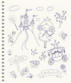 stock photo of fairies  - Hand drawn fairy tale princess doodle design elements set on checkered notebook page background - JPG