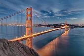 stock photo of bridge  - The Golden Gate Bridge in San Francisco bay - JPG