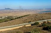 pic of golan-heights  - Explosions from the war in Syria can be seen from a hill on the Golan Heights 150 meter from the border about 10 kilometers south - JPG