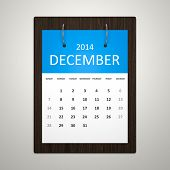 stock photo of calendar 2014  - An image of a stylish calendar for event planning December 2014 - JPG