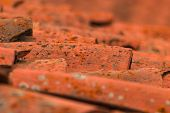 stock photo of roof tile  - detail of a roof of a house with clay tiles