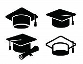 stock photo of graduation  - vector black illustration of graduation map icon on white - JPG