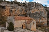 stock photo of templar  - templar romanesque chapel of San Bartolome in the Lobos river canyon Spain - JPG