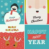 stock photo of christmas claus  - Set of four Christmas and New Year greeting cards - JPG
