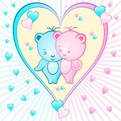 picture of mating bears  - Cute bear cartoon characters set inside a large pink and blue love heart shape - JPG