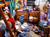 stock photo of untidiness  - A room is completely messed up and left in chaos - JPG