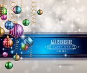 stock photo of christmas theme  - 2015 New Year and Happy Christmas background for your flyers - JPG