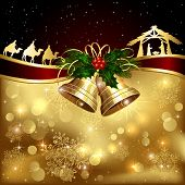 pic of xmas star  - Background with golden Christmas bells holly berry and Christian scene illustration - JPG
