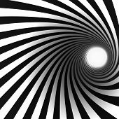 stock photo of brainwashing  - black and white spiral with light at the end - JPG
