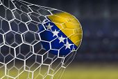 stock photo of netball  - Amazing Goal with Soccer Ball of Bosnia and Herzegovina  - JPG