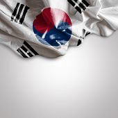stock photo of seoul south korea  - Waving flag of South Korea - JPG