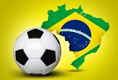 image of brasilia  - Map and Soccer ball of Brazil 2014 on yellow background - JPG