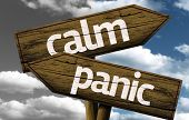 image of panic  - Calm x Panic creative sign with clouds as the background - JPG