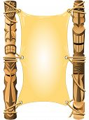 pic of tiki  - Blank invitation in Hawaii style with Tiki poles - JPG