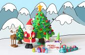 stock photo of gnome  - Santa Claus gnomes and reinder handmade with modelling clay wishing Merry Christmas on a drawn winter background - JPG