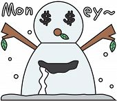 stock photo of  greed  - cartoon winter snowman symbol with greed face - JPG