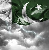 picture of pakistani flag  - Pakistan waving flag on a bad day - JPG