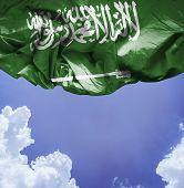 image of saudi arabia  - Saudi Arabia waving flag on a beautiful day - JPG